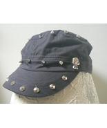 D&Y Womens Hat Cadet Cap  w/ Skulls / Spikes - Faded Distressed Black Gray - $7.99