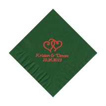 50 Personalized Double Hearts Printed Beverage Cocktail Napkins  - $9.95+