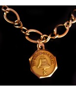 Vintage gold filled Bracelet - 10kt gold charm - New England Telephone a... - $125.00