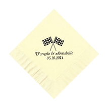 50 Personalized Checkered Flags Printed Beverage Cocktail Napkins  - $9.95+