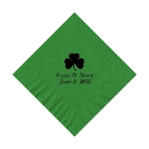 50 Personalized Clover Printed Beverage Cocktail Napkins - $9.95+
