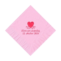 50 Personalized Single Heart Printed Beverage Cocktail Napkins - $9.95+