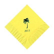 50 Personalized Palm Tree Printed Beverage Cocktail Napkins - $9.95+