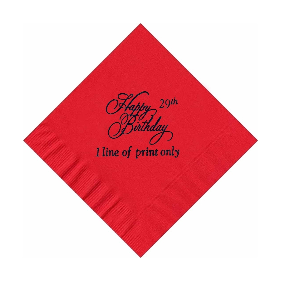50 PERSONALIZED Happy Birthday  printed BEVERAGE cocktail NAPKINS