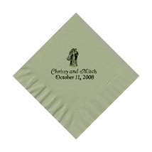 50 PERSONALIZED bride and groom printed BEVERAGE cocktail NAPKINS - £7.69 GBP+