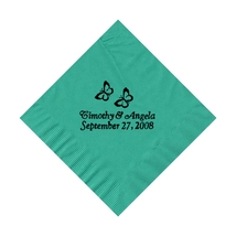 50 PERSONALIZED 2 butterflies printed BEVERAGE cocktail NAPKINS - £7.69 GBP+