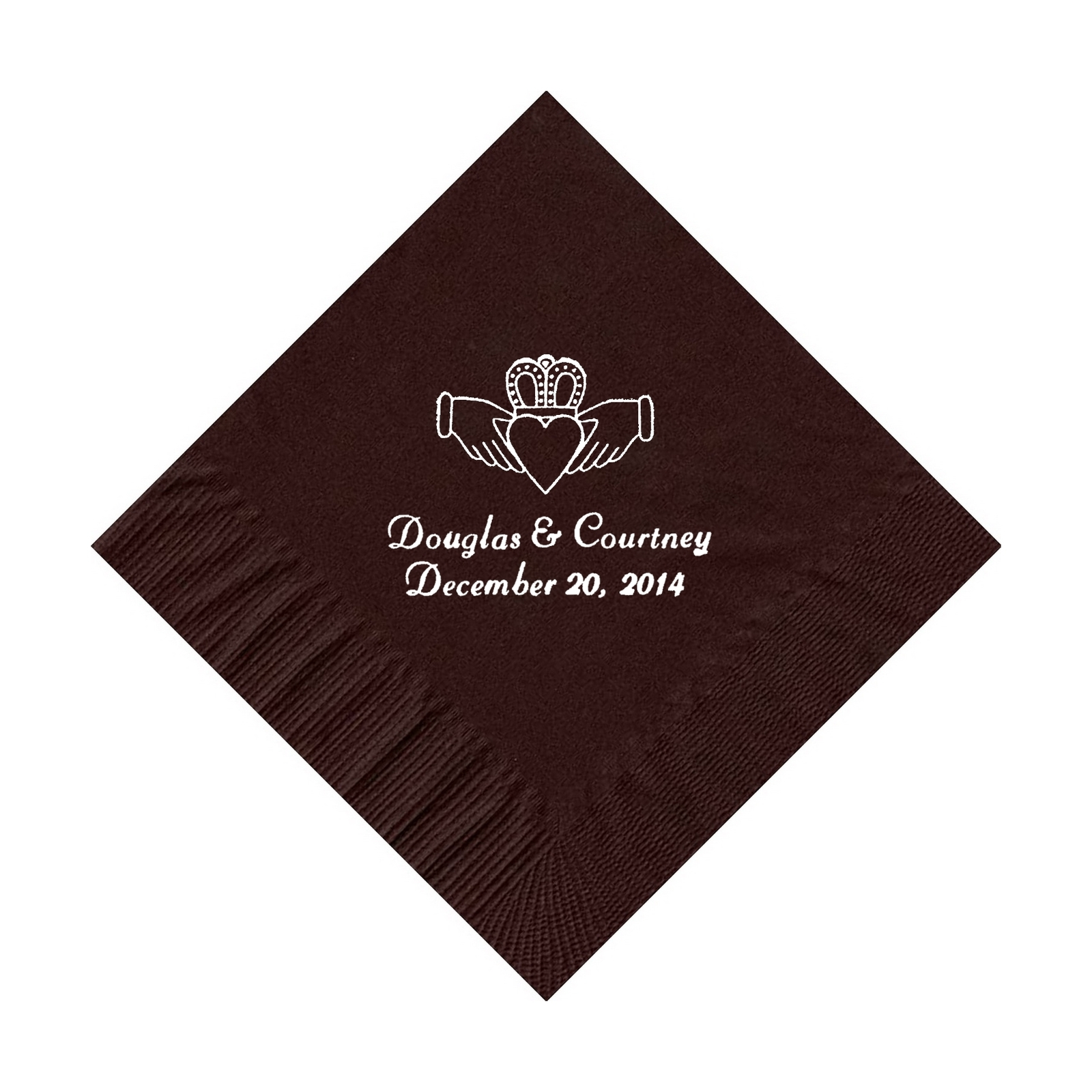 50 PERSONALIZED claddagh ring printed BEVERAGE cocktail NAPKINS