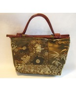 Asian Olive Green Purse Bamboo Handles Floral Dragon Fabric Satin Lined ... - $28.00
