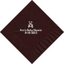 50 PERSONALIZED bear printed Luncheon dinner NAPKINS with names or event - $11.95+