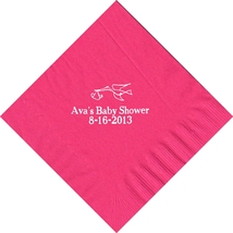 50 PERSONALIZED stork printed Luncheon dinner NAPKINS with names or event - $11.95+