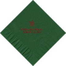 50 PERSONALIZED leaf printed Luncheon dinner NAPKINS with names or event - $11.95+