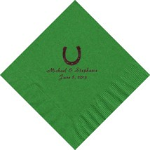 50 PERSONALIZED horseshoe printed Luncheon dinner NAPKINS with names or event - $11.95+