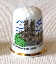 WESTMINSTER ABBEY LONDON PORCELAIN THIMBLE SOUVENIR FINE BONE CHINA - $2.95