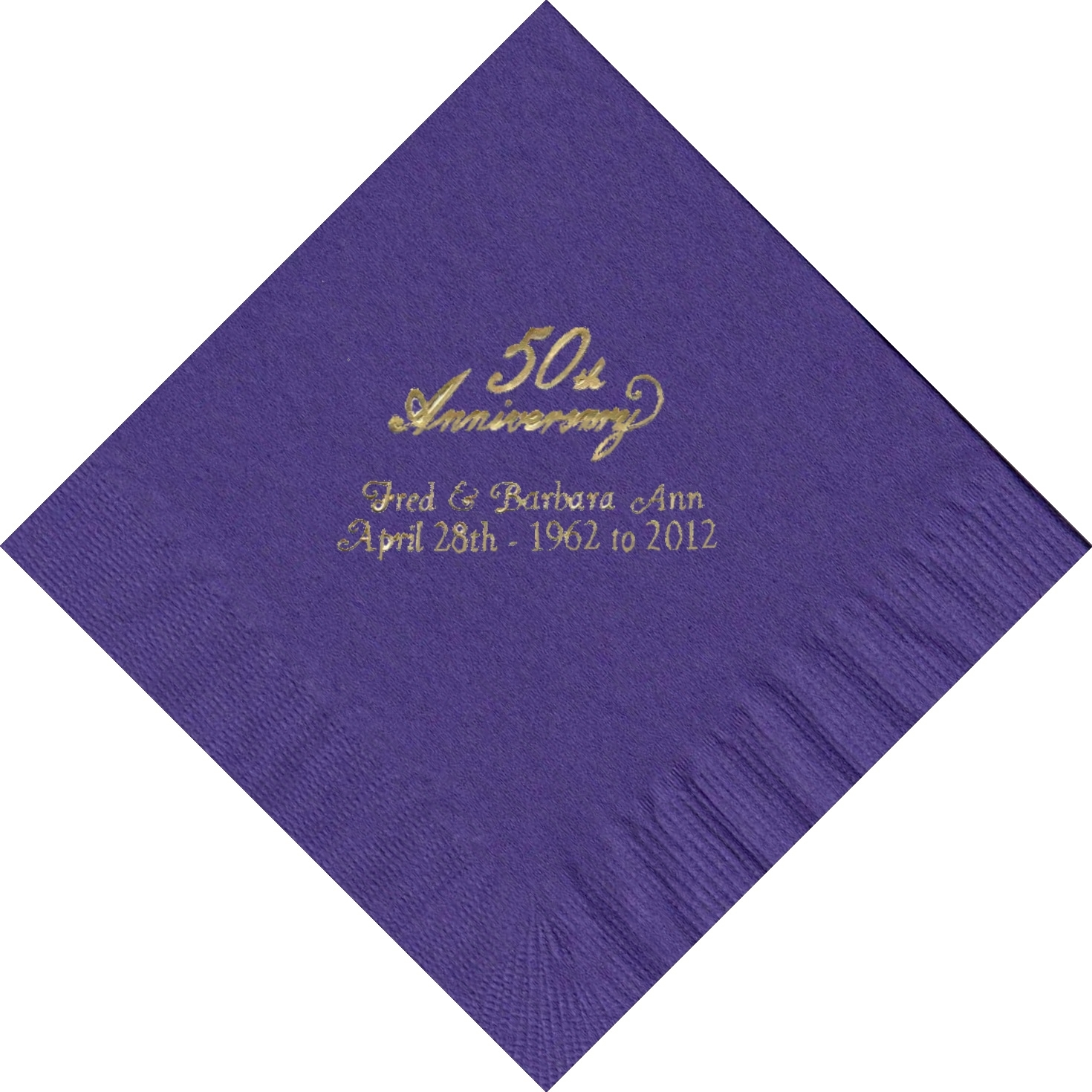 50 PERSONALIZED 50th Anniversary printed Luncheon dinner NAPKINS