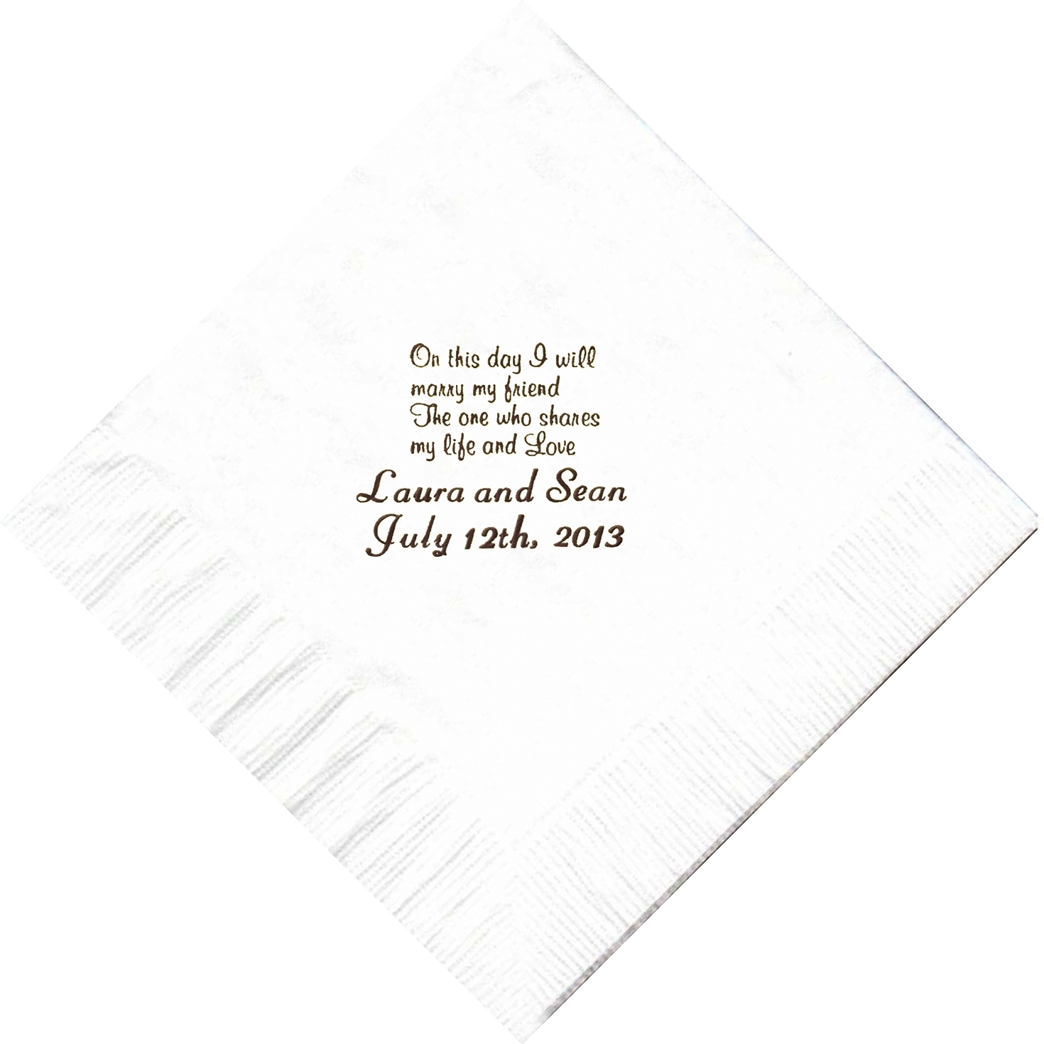 "Primary image for 50 PERSONALIZED ""On This Day"" printed Luncheon dinner NAPKINS with names or even"