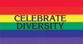 Rainbow Flag Celebrate Diversity Vintage 3X5 1/2 Vinyl Gay Sticker  - $4.50