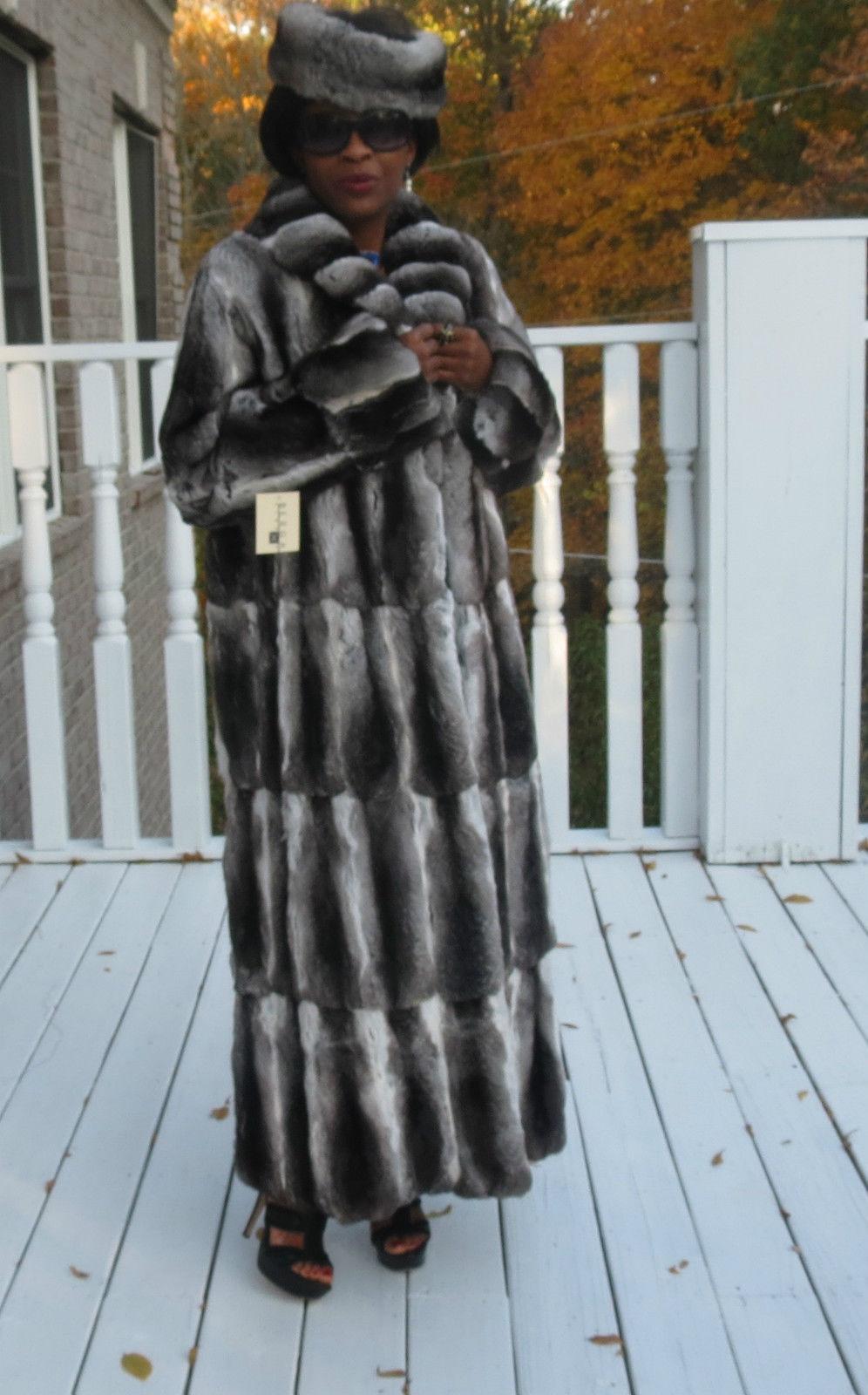 New Full length full pelt loose cut Empress Chinchilla Fur Coat Jacket M-L 8-14