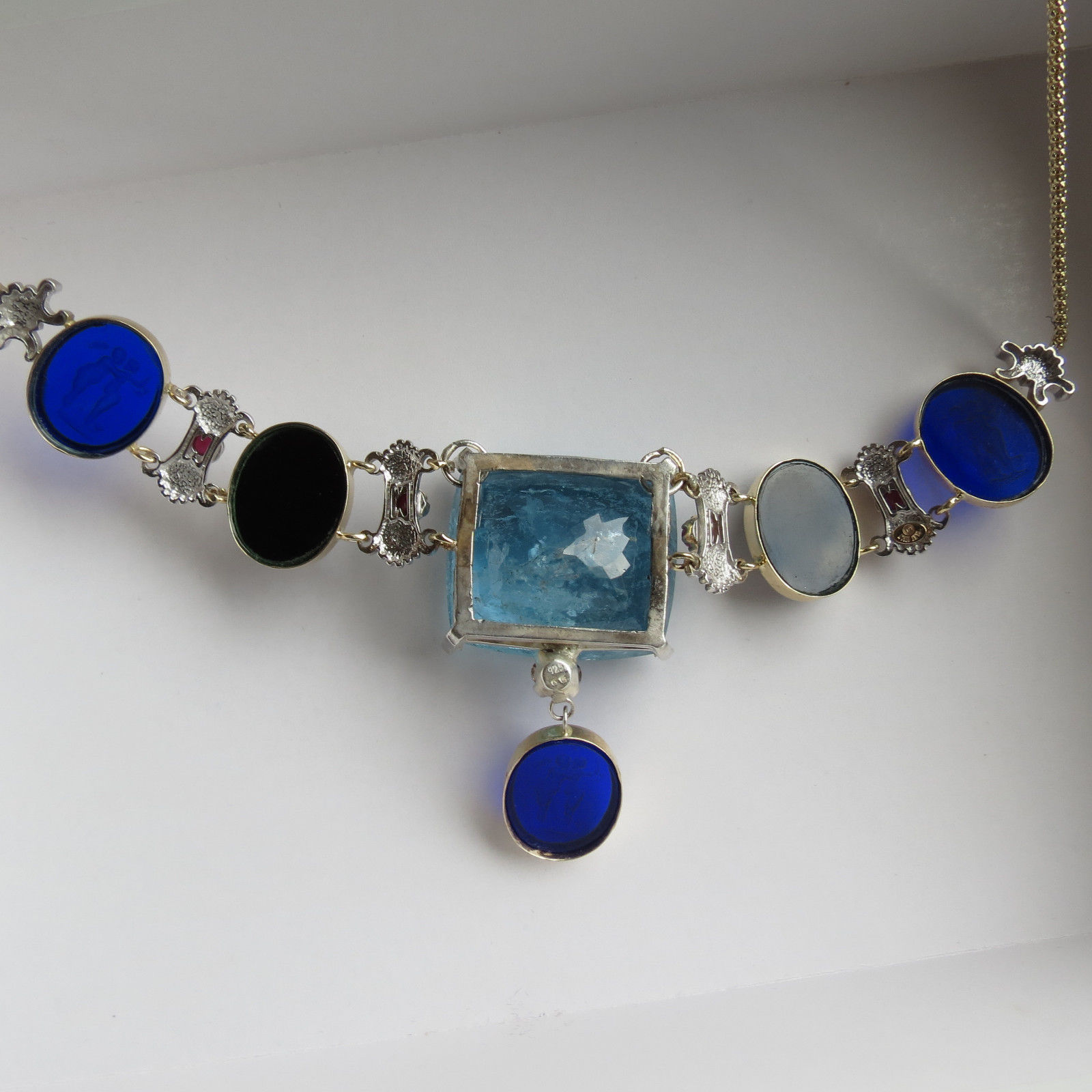 Huge 86ct Santa Maria blue aquamarine diamond 14k gold ruby intaglio necklace