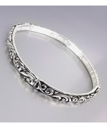 NEW Brighton Bay Silver Black Filigree Thin 4mm Stretch Stackable Bracelet - £7.90 GBP