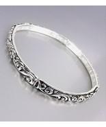 NEW Brighton Bay Silver Black Filigree Thin 4mm Stretch Stackable Bracelet - £7.97 GBP