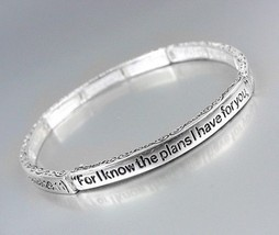 Inspirational Thin Scripture JEREMIAH 29:11 Silver Stretch Stackable Bracelet - $9.99