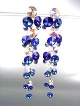 STUNNING Sapphire Blue Iridescent Czech Crystals WATERFALL Dangle Earrings - $31.03