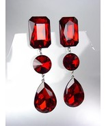 GLITZY Ruby Red Czech Crystals LONG Bridal Queen Pageant Prom Earrings - £21.68 GBP