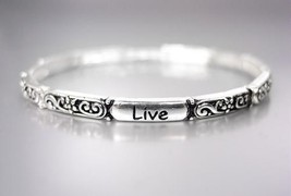 Inspirational Thin Silver Black Filigree Live Laugh Love Heart Stretch Bracelet - $9.99