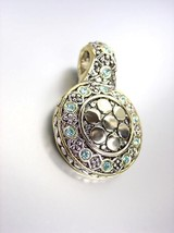 Gorgeous Designer Style Balinese Silver Gold Dots Blue Topaz Cz Crystals Pendant - $19.99