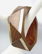 CHIC Natural Wood Brass Overlay Geometric HEXAGON Bangle Bracelet - €14,87 EUR