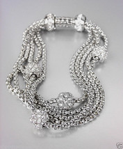 CLASSIC Designer Inspired Pave Eternity Balls 5 Box Chains Magnetic Brac... - €23,89 EUR