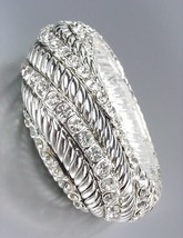 Designer Style Chunky Silver Cables CZ Crystals Stretch Bangle Bracelet - €13,98 EUR