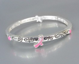 Inspirational Pink Ribbon BREAST CANCER AWARENESS Stretch Stackable Brac... - €8,74 EUR