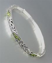 CLASSIC Brighton Bay Thin Silver Filigree Olive CZ Crystals Stretch Bracelet - $9.40