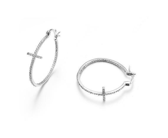 "Primary image for CLASSIC 18kt White Gold Plated Inside Outside CZ Crystals CROSS 1"" Hoop Earrings"