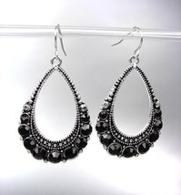 SPARKLE Brighton Bay Antique Silver Black CZ Crystals Tear Drop Dangle E... - $12.99