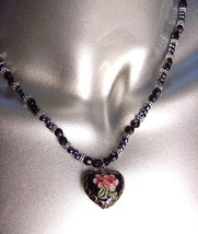 DECORATIVE Black Multi Cloisonne Enamel Floral Heart Pendant Necklace - €10,40 EUR