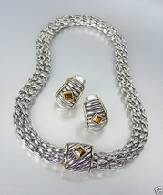 Designer Style Silver Cable Gold Brown Topaz Crystal Magnetic Mesh Neckl... - $31.03