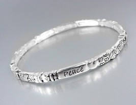 Inspirational PEACE Silver Stretch Stackable Bracelet - €7,19 EUR
