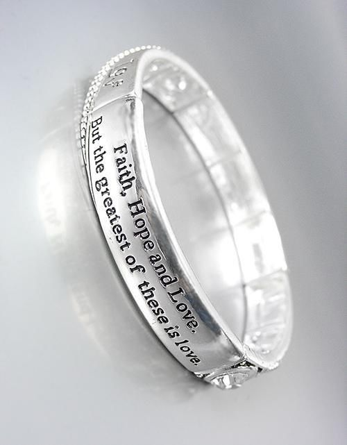NEW Brighton Bay FAITH HOPE LOVE Silver Filigree CZ Crystals Stretch Bracelet - $15.99