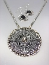 VINTAGE Antique Silver Marcasite Crystals Medallion Mesh Chain Necklace Set - $19.99