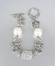 Designer Style Creme Pearls Pave CZ Crystals Kali Toggle Bracelet - $17.86
