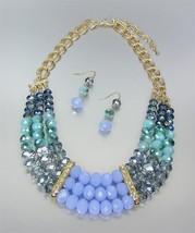 EXQUISITE Smoky Blue Czech Labradorite Chalcedony Crystals Drape Necklac... - $40.43