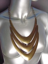 CHUNKY Antique Burnished Gold Metal Layered Drape STATEMENT Necklace Set - €16,01 EUR