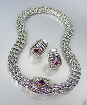 Designer Style Silver Cable Purple Amethyst Crystal Magnetic Mesh Neckla... - $31.03