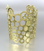 CHIC & UNIQUE Gold Metal Honeycomb WIDE STATEMENT Cuff Bracelet - €14,41 EUR