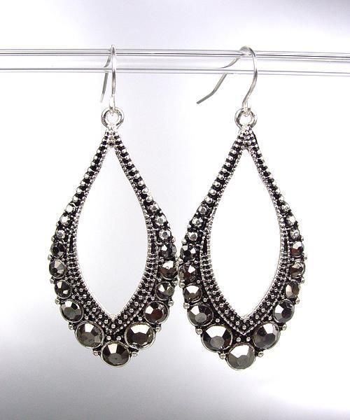 Primary image for SPARKLE Antique Silver Metal Hematite CZ Crystals Tear Drop Dangle Earrings