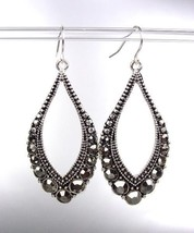SPARKLE Antique Silver Metal Hematite CZ Crystals Tear Drop Dangle Earrings - $15.99