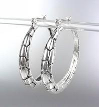 CLASSIC Designer Style Balinese Silver Kali Dots Texture Hoop Earrings - $10.99
