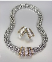 CLASSIC Designer Style Silver Cable Gold CZ Crystals Barrel Mesh Necklac... - $34.79